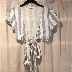 Cotton Candy- blue and white striped tie top